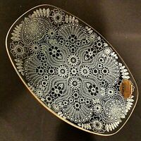 """CHANCE GLASS RETRO TRINKET DISH PILKINGTON MADE IN ENGLAND FLORAL PATTERN 8.5"""""""
