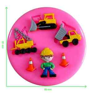 Builder Construction Digger Crane Silicone Mould by Fairie Blessings