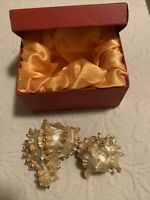 vintage  Man made seashell  Metal With Studs Golden Tinker Box Jewelry