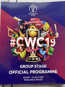 Cricket World Cup 2019 Group Stage Programme