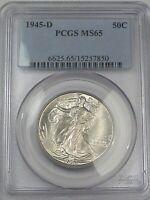 BU GEM 1945-d US Walking Liberty Half Dollar. PCGS MS65.  #124