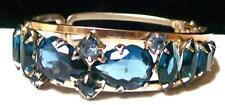 Vintage CHUNKY MONTANA BLUE RHINESTONE CLAMPER BRACELET-Openback Setting-Estate