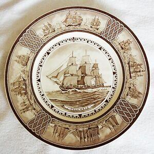 Vintage (1950) Wedgwood American Sailing Ship Queensware Plate - COLUMBIA