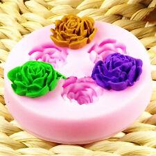 3-Loch 3D Rose Mold Blume Silikon Ausstechform Marzipan Fondant Hochzeitstorte