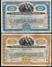 OIL :  2 x THE PRAIRIE PIPE LINE COMPANY KANSAS KS old stock certificates 1930s