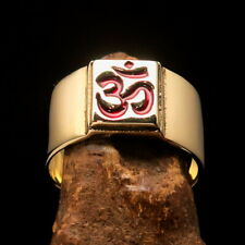 Nicely crafted Men's Costume Band Ring Buddhist Yoga Aum Symbol Red