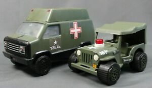 VINTAGE Tonka Pressed Steel - Jeep MP Military Police #810094 & Medical Vehicle