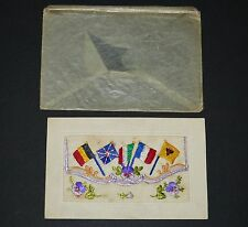 WW1 Embroidered SILK Sweetheart POSTCARD Military ALLIED FLAGS Great War FRANCE