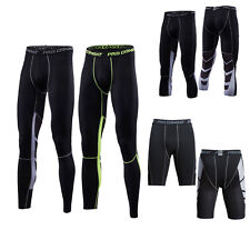 Men Workout 3/4 Tights Compression Base Layer Shorts Cropped Fitness Black Pants