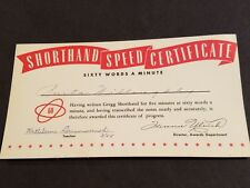 Vintage Shorthand Speed Certificate 60 Words A Minute