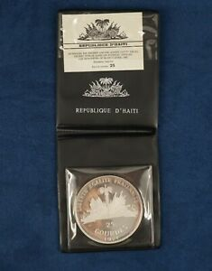 1971 Haiti 25 Gourdes Silver Proof In Original Wallet - Free Shipping USA