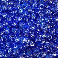 100 x Royal Blue Glitter Barrel Shape Pony Beads 9x6mm