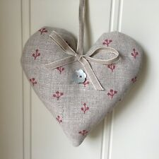 PEONY AND SAGE  Lavender Heart    SPRIGS VINTAGE RED  Linen ribbon  Gift