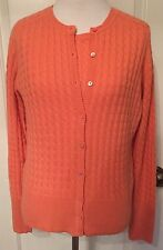 M Belford Cashmere Twin Set Tank & Cardigan Sweater Coral Pink Cable Knit EUC