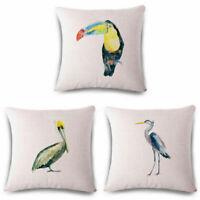 Decor Parrot Cotton Case Linen Throw Sofa Cover Cushion Home Crane Pillow