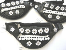 100% Genuine Black Leather Bum Bag - Daisy Flowers, Pom Poms & Studs - Festivals