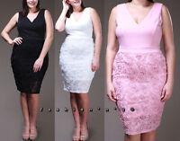 Plus Women Floral Mesh Rosette Skirt Bodycon Dress Sleeveless V-Neck