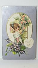 MY HEARTS GIFT Vintage 1908 Valentine Post card Girl-Violets-Silver Gilt
