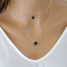 Black Round Nature Lava Rock Beads Aromatherapy Necklace Fashion Women Jewelry