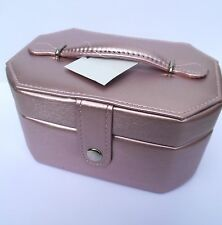 Jewellery Box-ADULT/TEENAGERS OCTAGONAL TWO TIER Leather Style in PALE PINK-NEW