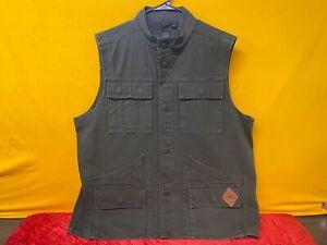 🔥Harley-Davidson Men's Slim Fit Canvas Safari Vest, Dark Green Large🔥