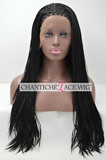 Long Micro Braided Lace Front Wig UK Synthetic Hair Glueless Full Wigs For Women