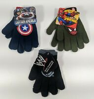 3 Pairs Of Kid's Knit Gloves - Spider Man, Captain America, WWE - New