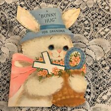 Vintage Greeting Card Mothers Bunny Rabbit Hat Basket