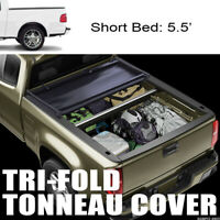 "Fit 01-03 Ford F150 5.5 Ft 66"" Short Bed Tri Fold Soft Vinyl Truck Tonneau Cover"