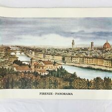 "Firenze Italy Panorama Art Print Lithograph Florence Ponte Vecchio 28"" x 20"""