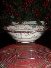 """222 FIFTH MOUNT HOLLY GREEN 10"""" ROUND SERVING BOWL CHRISTMAS MOOSE PINECONES"""
