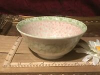 "Asian Porcelain Green & Pink Floral Bowl  5 5/8""x2 5/8"""