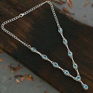 BLUE TOPAZ GEMSTONE SOLID 92.5 STERLING SILVER CHAIN BEADED NECKLACE #1001