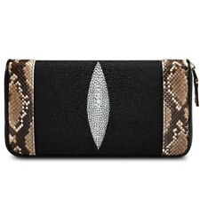 STINGRAY WITH PYTHON SKIN UNISEX WALLET PURSE HANDMADE GOOD FINE STITCHED EXPORT