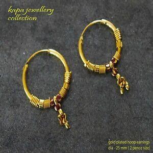 18k Gold Hoop Earrings Gold plated Indian gold small earring  kapa jewellry