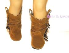 Brown Fringe Slouch Boot Fits 18 in American Girl Doll Clothes