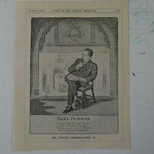 """7x10"""" ponche de dibujos animados 1925 el señor Punch's personalidades Nigel Playfair"""