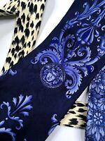 GIANNI VERSACE VINTAGE '90s MEDUSA BAROQUE V-MOTIF TIE PANTHER FLOWER BLUE ITALY