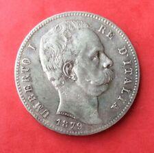 Italie - Umberto -  Très Jolie  monnaie de 5 Lires 1879 R