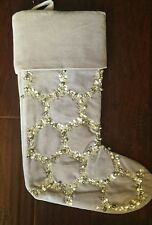 New West Elm No Monogram Pewter Gray Sequin Jingle Bell Christmas Stocking
