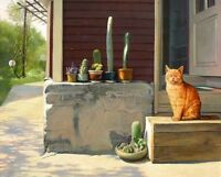 Home Living Room Wall Art Decor Cat bright day Oil Painting Printed On Canvas