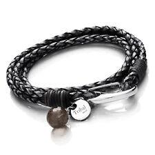 Tribal Steel 19cm Ladies Black Wrap-Around Leather Bracelet