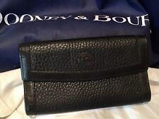 Dooney Bourke Vintage AWL All Weather Leather Large Checkbook Wallet ALL BLACK