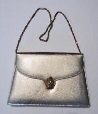 VTG Gold Lame' with Lion Head Clasp Shoulder Evening Bag Purse