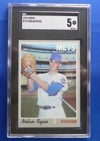 NOLAN RYAN New York Mets 1970 high numbered Topps #712 SGC Graded: 5 (Ex)