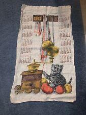 New listing Vintage Kitchen Sack Cloth 1974 Linen Calendar Wall Art,Kitten.