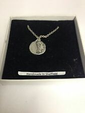 "Augustus WE-C2 Roman Coin  Emblem on Silver Platinum Plated Necklace 18"""