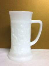 Beer stein mug white milk glass look 3 men at a table 1 bar glass glasses ME2