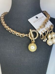 Accessorize Pearl Earrings And Chunky Gold Tone Necklace Bundle