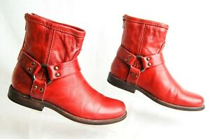 Frye Phillip Harness Women's 5.5 B Red Zip Leather  Pull On Ankle Boots